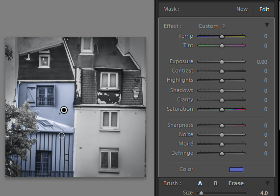 The buildings have defined edges so use Auto Mask when painting them. The tree does not, so disable Auto Mask when painting it.