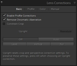 6d Lens correction panel adjustments