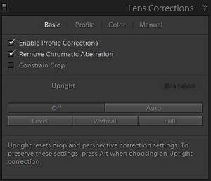 6d Lens correction panel adjustments