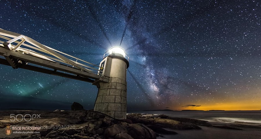 Photograph Milky Way at Marshall Point Lighthouse by Mike Taylor on 500px