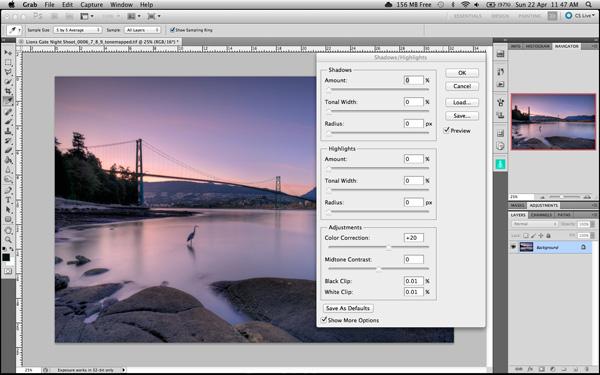 Shadow and Highlights función en Photoshop