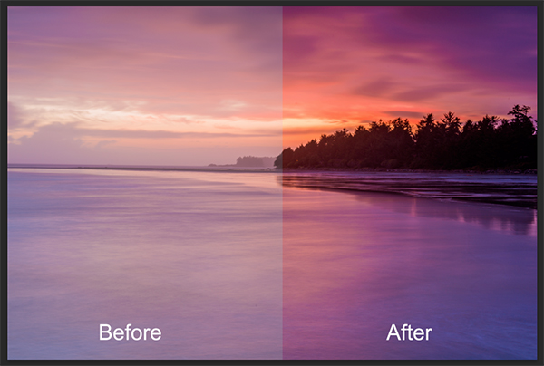 Seascape image - Before and After image editing