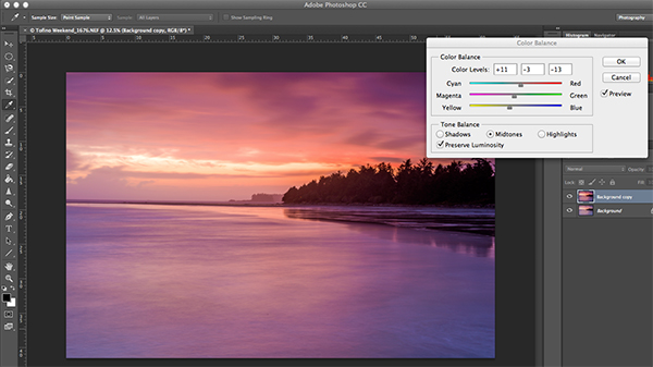 Using Colour Balance to boost the colours in the image