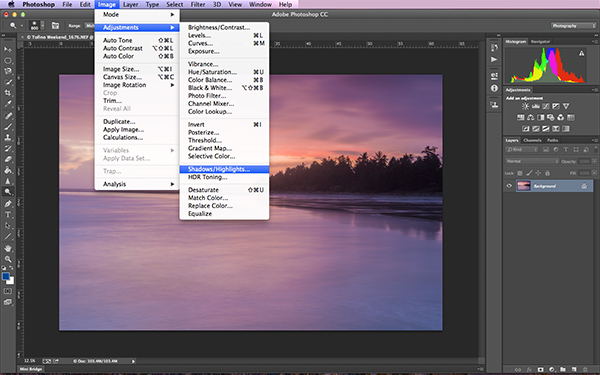Finding the Shadow and Highlights tool