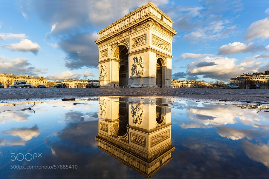 Photograph Arc de Triomphe Etoile Water Mirror Reflection by Loïc Lagarde on 500px