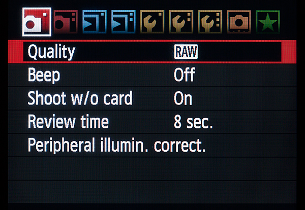 Canon Quality Menu