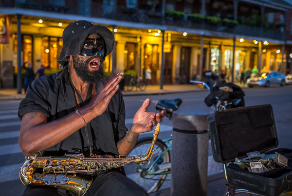 Street performer at night in New Orleans