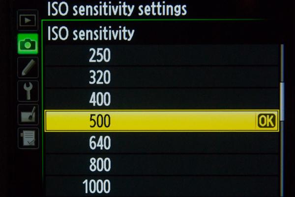 ISO setting in menu