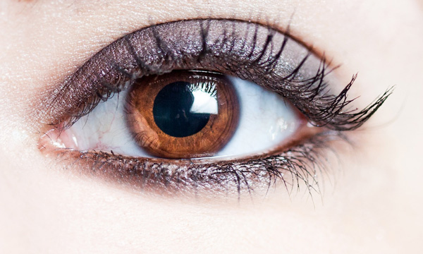 Eyes lit by a medium softbox off camera