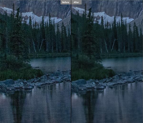 Antes e depois da redução de ruído.