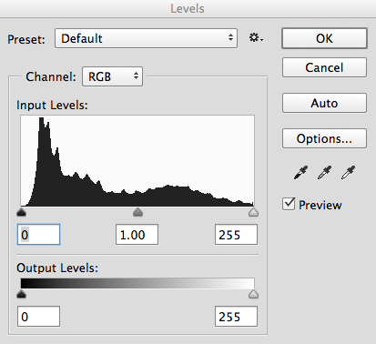 Levels tool in Photoshop