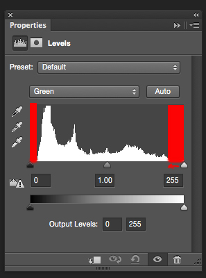 Bring the white and black sliders to the point where the graph starts moving upwards
