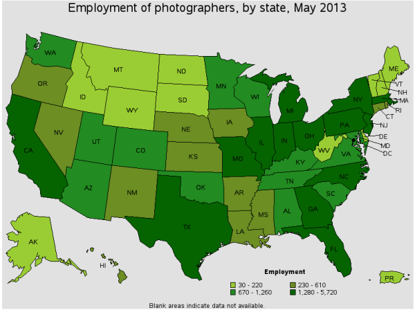 Employment of Photographers by State according to the US Department of Labor Statistics