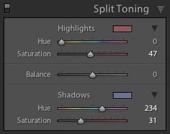 Split toning in Lightroom