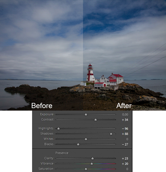 Head Harbor Lighthouse photo with Lightroom adjustments