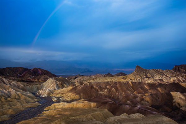 Zabriskie Point at dawn as storms move through the park.