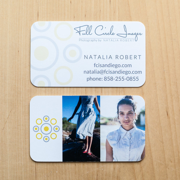 Color photos on back side of business card