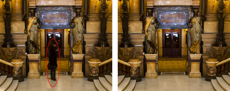 Here I've zoomed in on a portion of another shot of the Opera Garnier. Use the patterns on the floor and door to recreate the space where you clone over the people.