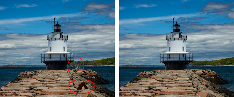 removing distractions from a lighthouse photo without creating a pattern