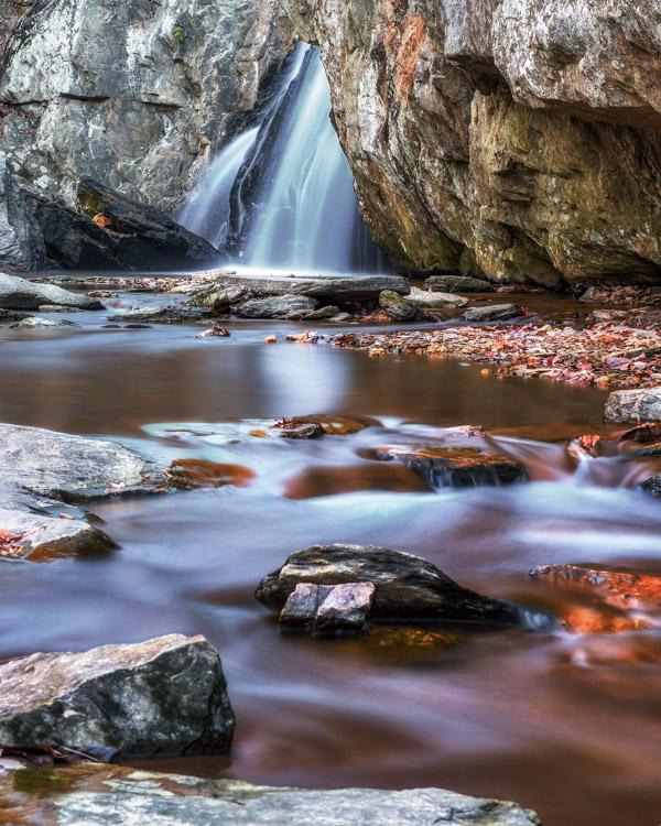 waterfall with long-exposure stream