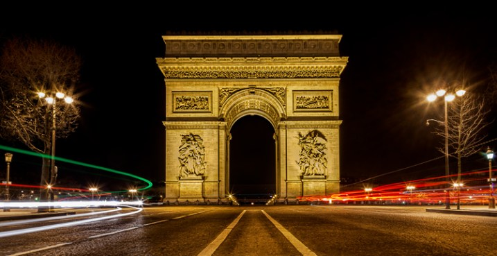 Great Subjects for Urban Night Photography - Arc de Triomphe example