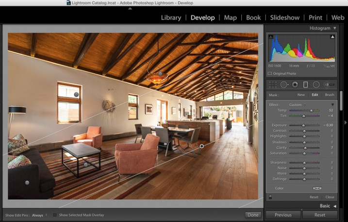 Gradient filter tool can be found under the histogram in Lightroom