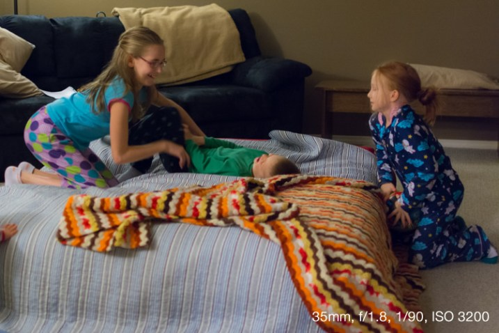 Shooting at ISO 3200 allowed me to get pictures of my nieces' pajama party without using the flash.