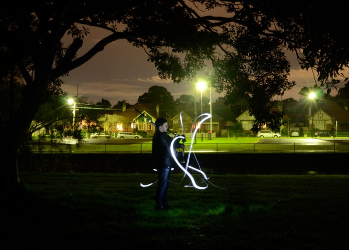 Light painting a portrait outdoors
