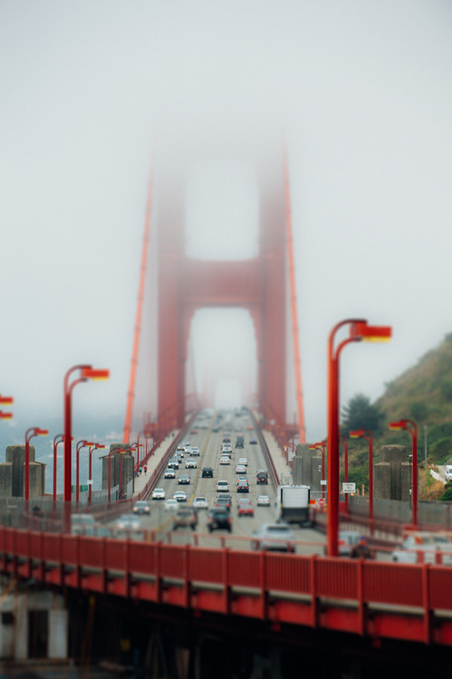 Golden Gate Bridge with the tilt-shift effect applied.