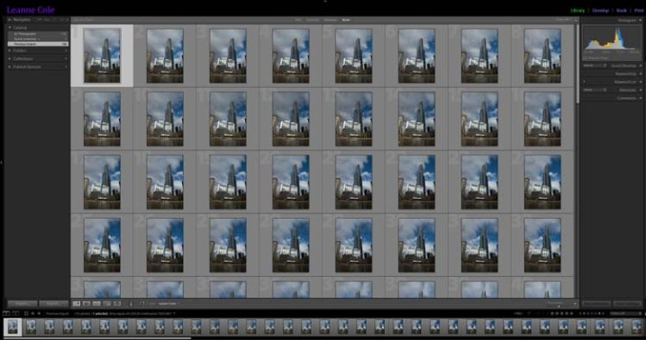 The images for the time lapse in Lightroom