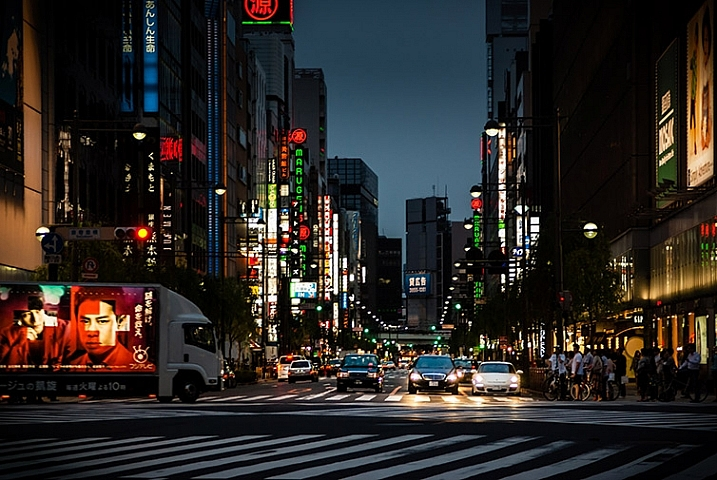 photo of a Tokyo streetscape after being fixed in Lightroom