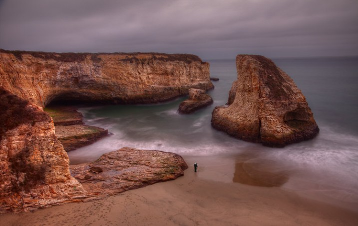 Seascape features example -  Photographer at Davenport cliffs