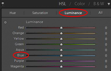 HSL/Color/B&W panel in Lightroom's Develop Module