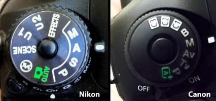 Nikon-Canon-mode-dail
