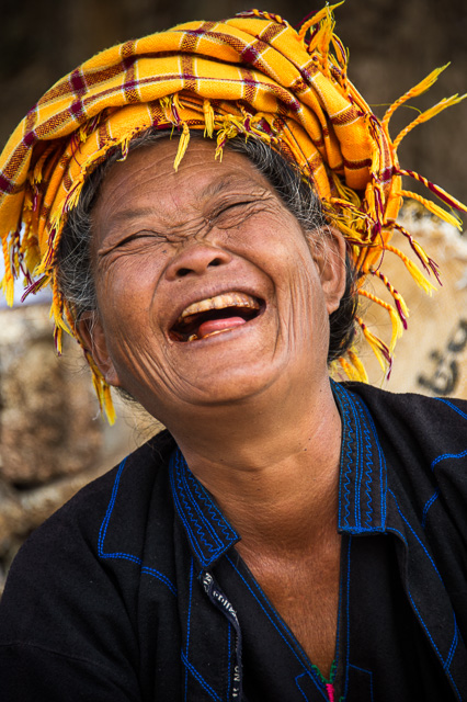Happy woman in Taung Tho Market Inle Lake