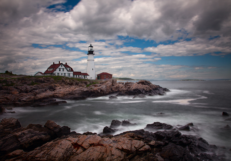 Photo of the Portland Head Light: Example of sky enhancement using Lightroom