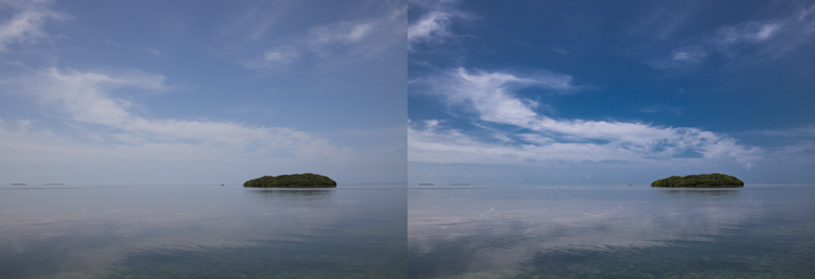 Photo taken from Seven Mile Bridge in the Florida Keys: Example of sky enhancement using Lightroom