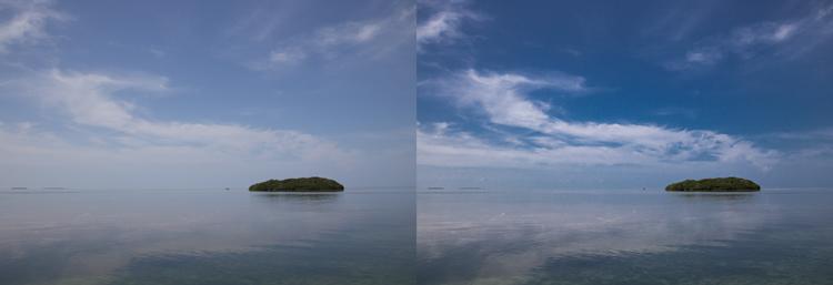 Photo taken from Seven Mile Bridge in the Florida Keys: Example of sky enhancement using Lightroom