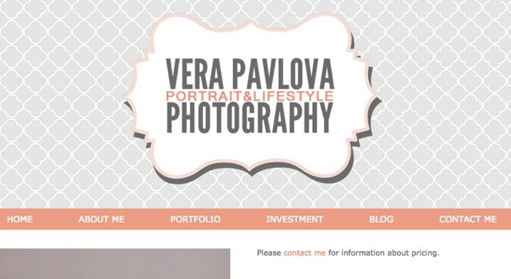3 example of good website clear statement about where to find pricing www verapavlovaphotography com