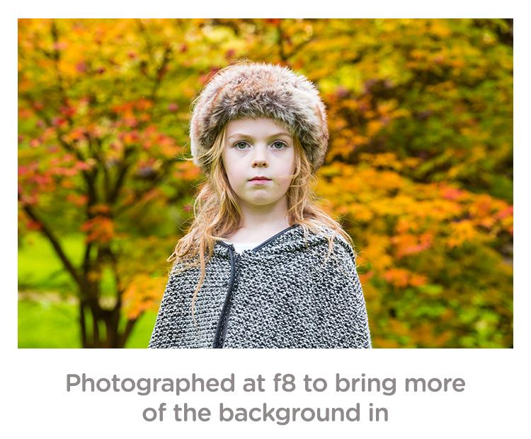 girl fall portrait f/8 aperture