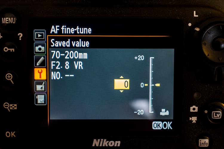 Adjusting autofocus fine tuning