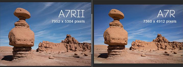 Sony A7RII pixel dimensions vs A7R