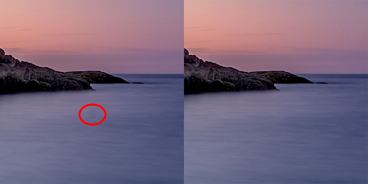 I had a few dust spots on my sensor. This one in the water, circled in red, did not respond well to the Spot Healing Brush, so I used the Cloning Stamp to sample and area of the water and stamp it over the dust spot.