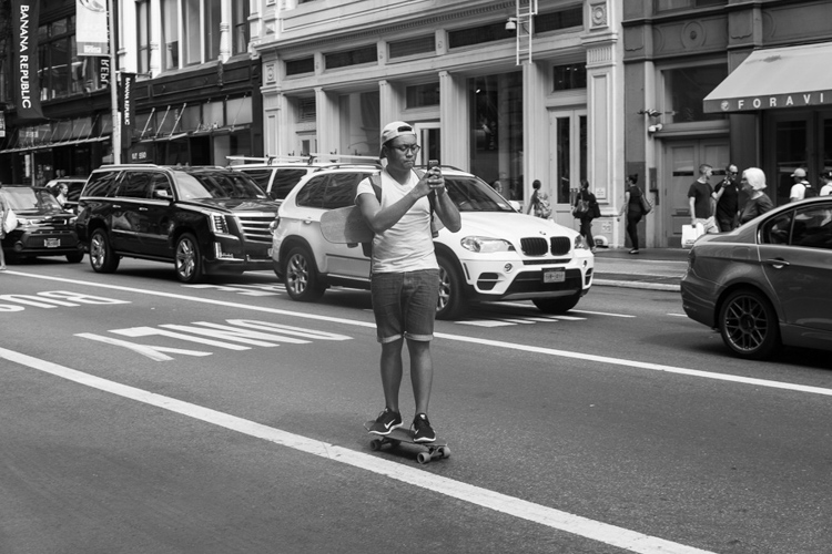 Skateboarder, Broadway, NYC.