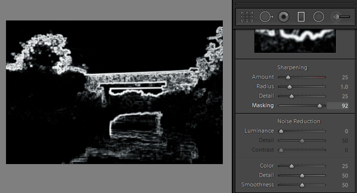alt key provides visual feedback for many sliders in Lightroom