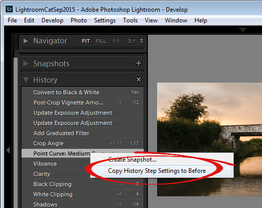 change the starting point for a before/after comparison in Lightroom
