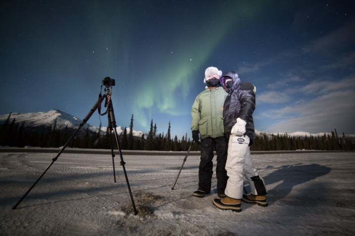 Two of my clients on an aurora photography tour, dressed for the weather.