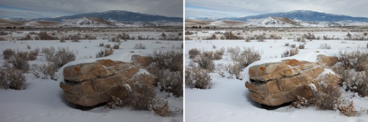 A snowy scene frequently confuses your camera's meter. To the left is a shot taken at normal exposure. To the right is one taken after adding in a stop of exposure compensation (overexposure).