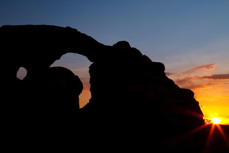 Sunset at Arches National Park, Utah.