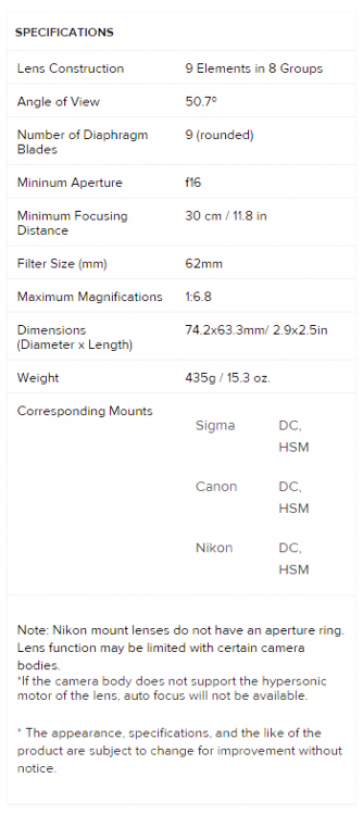 Sigma 30 Specs